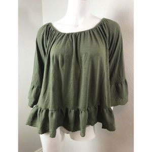 SANCTUARY Large Shirt Olive Green Linen Smocked
